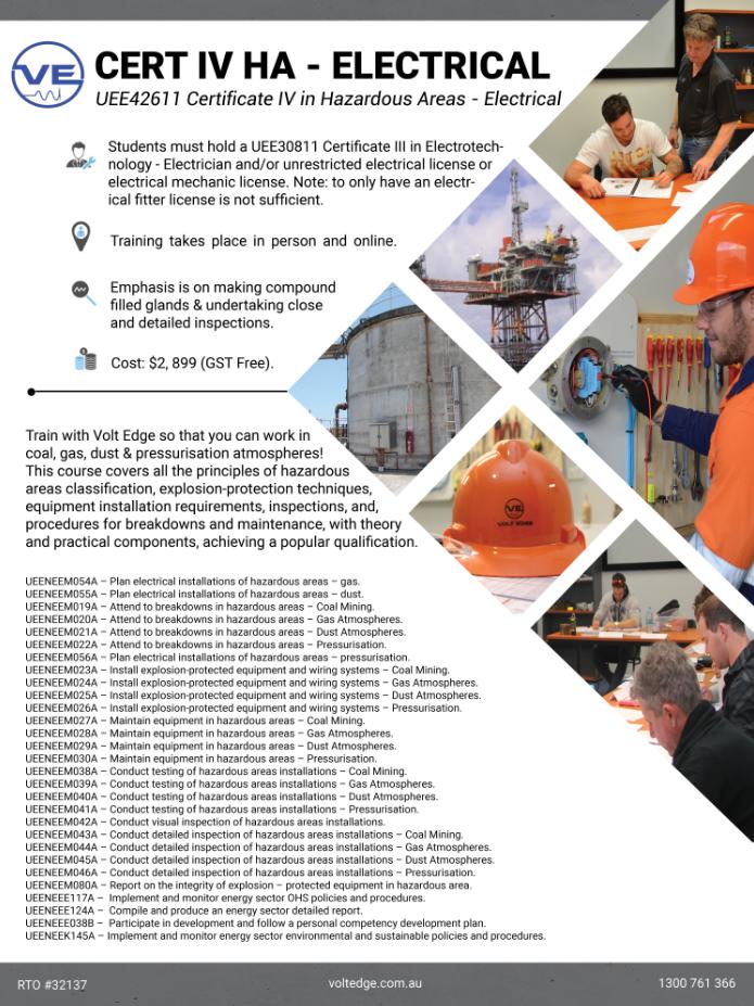 Certificate IV in Hazardous Areas – Electrical - Volt Edge
